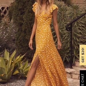 LULU'S mustard floral print maxi
